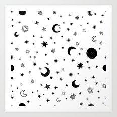 Moons & stars Art Print