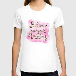 Believe In Your Dreams Gold Glitter Pink T-shirt
