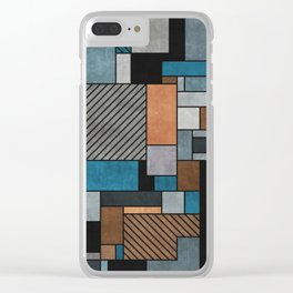 Colorful random pattern - blue, grey, brown Clear iPhone Case