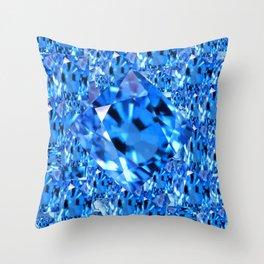 SEPTEMBER BLUE TOPAZ GEMMY  BIRTHSTONE ART Throw Pillow