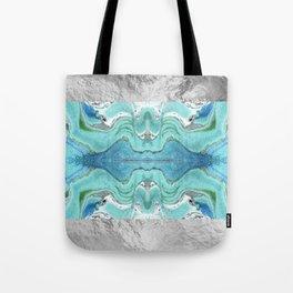 Blue Marble - Silver framed Tote Bag