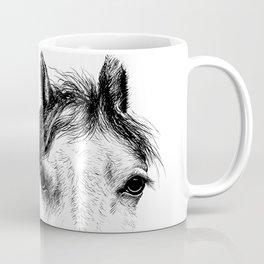 Horse animal head eyes ink drawing illustration. Mammal face portrait Coffee Mug