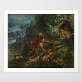 """Eugène Delacroix """"Arab Stalking a Lion"""" Art Print"""