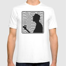 Bass Guitar Player Silhouette B/W MEDIUM White Mens Fitted Tee