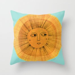 Sun Drawing - Gold and Blue Throw Pillow