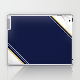 Double Marble - Blue Gold Stripes Laptop & iPad Skin