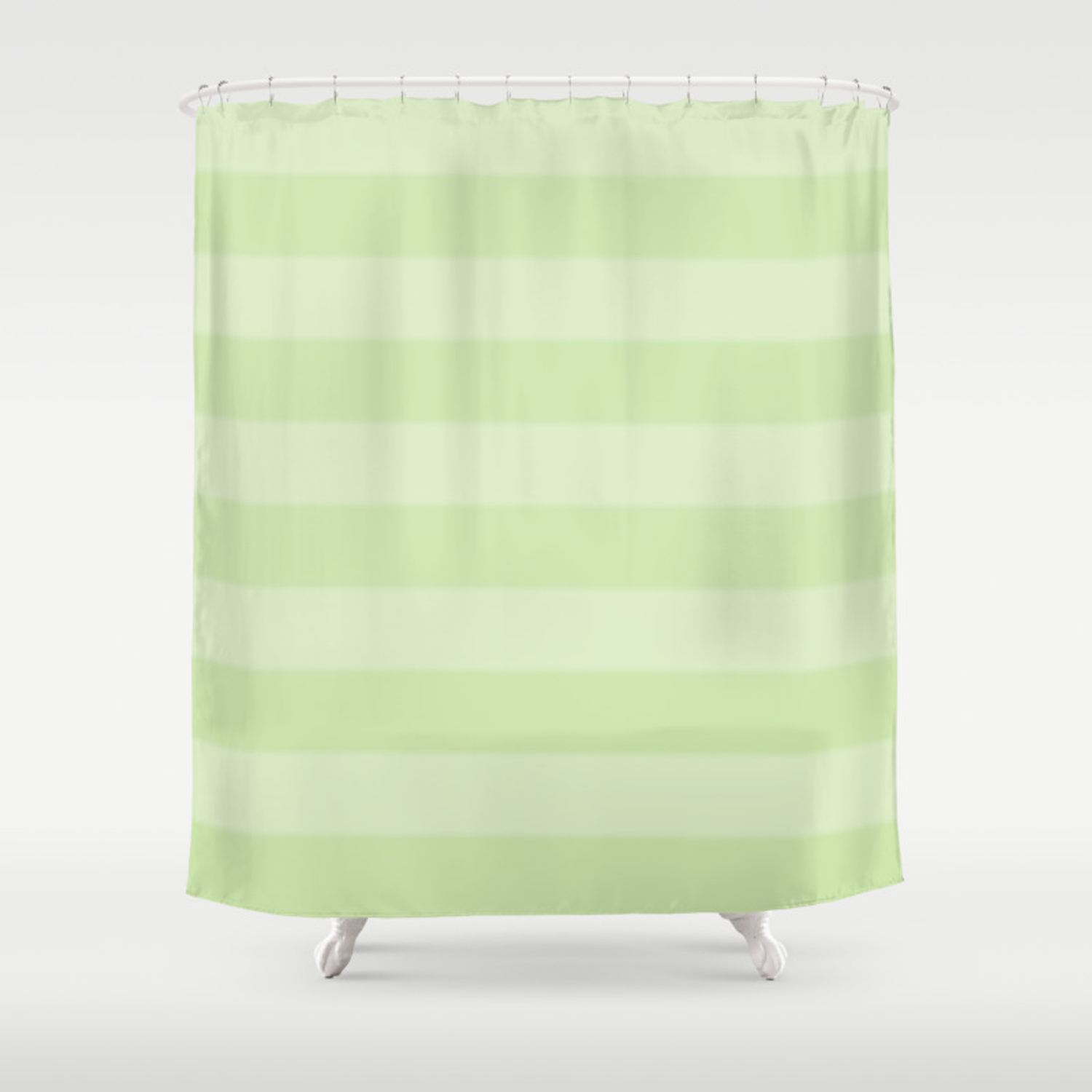 Green On Green Stripes Shower Curtain