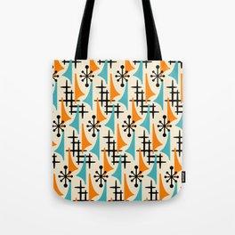 Mid Century Modern Atomic Wing Composition Orange & Blue Tote Bag