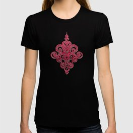 red&grey Baroque Pattern on gentle raspberry T-shirt