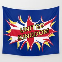 union jack Wall Tapestries featuring Union Jack by mailboxdisco