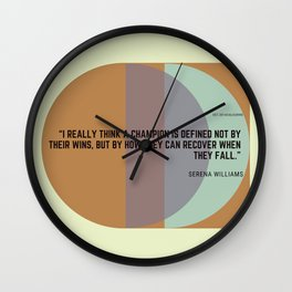 Serena Williams Quote How A Champion Is Defined Wall Clock
