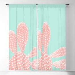 Apricot Blush Cactus on Mint Summer Dream #1 #plant #decor #art #society6 Blackout Curtain