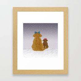 Cute Dogs Winter Scene Framed Art Print
