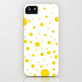 Mixed Polka Dots - Gold Yellow on White iPhone Case