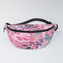 Pink Starfish and coral watercolor reef Fanny Pack