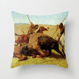 "Frederic Remington Western Art ""Buffalo Hunt"" Throw Pillow"