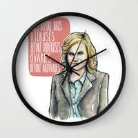 leslie knope Wall Clocks featuring Leslie Knope by Tiffany Willis
