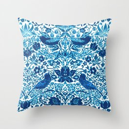 Art Nouveau Bird and Flower Tapestry, Blue and White Throw Pillow