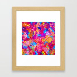 FLORAL FANTASY Bold Abstract Flowers Acrylic Textural Painting Neon Pink Turquoise Feminine Art Framed Art Print
