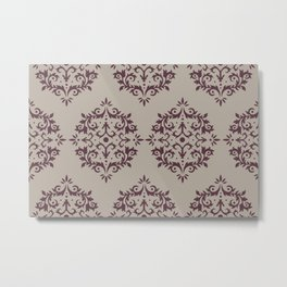 Deep Purple Gray Taupe Damask Scroll Pattern 2021 Color of the Year Epoch and Fondue Metal Print