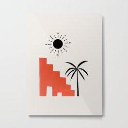 Abstract Minimalist Mid Century Ancient Ruin Palm Tree Sun Collage Ejaaz Haniff Metal Print