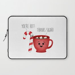 You're Hot! Thanks Sugar! Candy Cane & Hot Chocolate Couple Laptop Sleeve