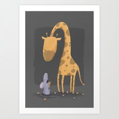 The Giraffe and The Mouse Art Print