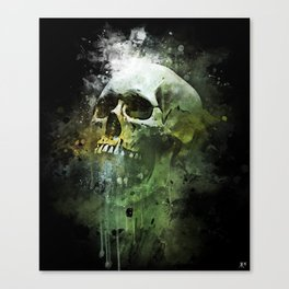 Splashed watercolor skull painting | let's get messy! Canvas Print