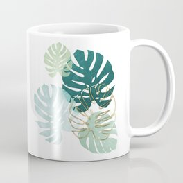 Tropical minimal / green, turquoise and gold monstera Coffee Mug