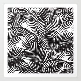 Modern black tropical palm trees pattern Art Print
