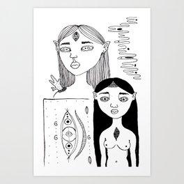 Elf Girls #1 Art Print