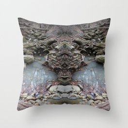 Mirrored Riverbed Throw Pillow