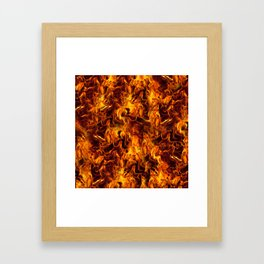 Fire and Flames Pattern Framed Art Print