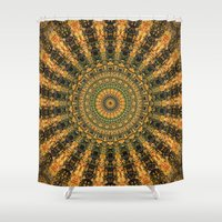 indie Shower Curtains featuring Indie Sun by Jane Lacey Smith
