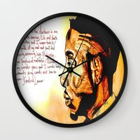 kendrick lamar Wall Clocks featuring Kendrick Lamar by Monroe the artist