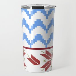 Fair Isle Sleighride on Snow pattern by LorLoves Design Travel Mug