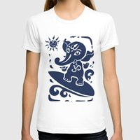 hindu T-shirts featuring Ganesha surfer. Hindu God Ganesha. Summer illustration. by Katyau