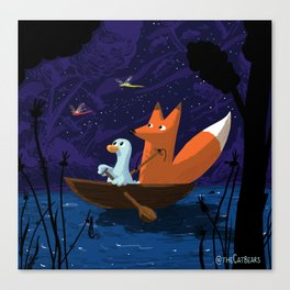Fox & Duck Looking For Dragonflies Canvas Print