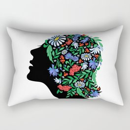 Female head with abstract flowers Rectangular Pillow