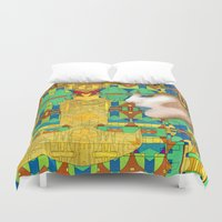 nouveau Duvet Covers featuring Nouveau Girl by Steve W Schwartz Art