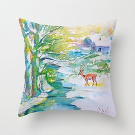 Winter landscape, snow stream and deer Throw Pillow