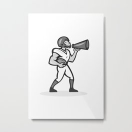 American Football With Bullhorn Grayscale Metal Print
