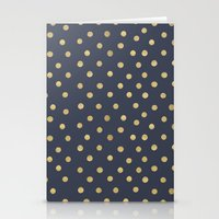 gold dots Stationery Cards featuring Gold Dots on Blue by Tamsin Lucie