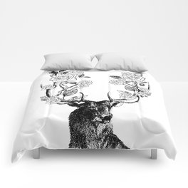 The Stag and Roses | Black and White Comforters