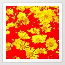 RED-YELLOW COREOPSIS FLOWERS ART Art Print