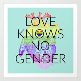 Love Knows No Gender Pride Aqua Art Print