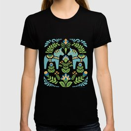 Swedish Dala Horses Teal T-shirt
