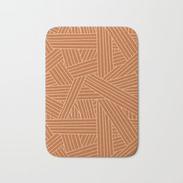 Crossing Lines in Brown + Blush Pink Bath Mat
