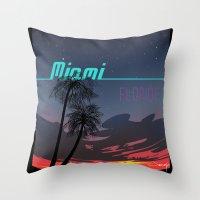 miami Throw Pillows featuring Miami by Nioko