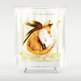 Winged Fox Sleeping Shower Curtain